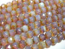 25  6mm Czech Glass Milky Amethyst Renaissance beads