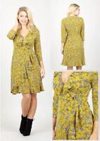 STELLA MORGAN DITSY FLORAL RUFFLE HEM 3/4 SLEEVE FRILLED MIDI WRAP DRESS