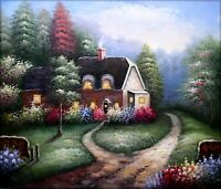 Quality Hand Painted Oil Painting Flowering Cottage 20x24in