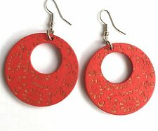 Boho Hippy Gypsy 70s Style Open Hoop Red Floral Wood Fashion Earrings
