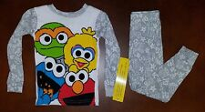 Sesame Street Cookie Monster Elmo Oscar Big Bird Toddler Boy Pajamas 4T New