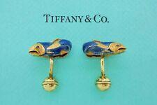 Vintage Tiffany & Co. Fish Enamel Sapphire 18k Yellow Gold Cufflinks - VERY RARE