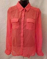 Ambiance Apparel NWT Women Coral Color Button Down Sheer Shirt Top Blouse Size S
