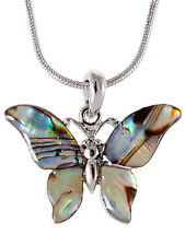 Silver Tone Abalone Colored Stone Zoo Elephant Pendant Necklace