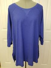 CALVIN KLEIN Performance (2X) Royal Blue Cotton Thermal Tunic 3/4 Sleeves