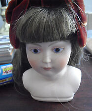 "Vintage 1980s Porcelain Girl Doll Head and Shoulders 4 3/4"" Tall"