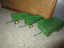 John Deere Farm Toy 3 Pressed Steel Wagons 2 Flare Bed 1 Silage Chuck Wagon