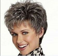 NEW Vogue mix color lady WOMEN Multi-Color Gray Short wigs Full Wigs +wig cap UK