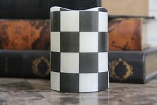"Black and White Checkered 4"" Inch Flameless LED Pillar Candle"