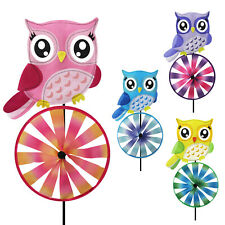 Set of 2X Owl Bicycle Windmill Wind Spinner Decoration Home Yard Garden Decor
