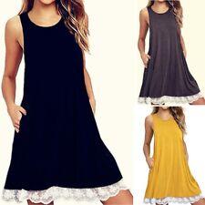 Summer Women Lace T-shirt Dress A-Line Sleeveless Tunic Swing Beach Sundress SH