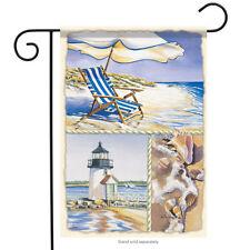 "Water's Edge Summer Garden Flag Nautical Shells Surf Sand Lighthouse 13"" x 18"""