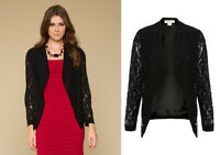 MONSOON UK 10 Black Sophisticated Lola Lace Long Sleeve Blazer Jacket EU 38