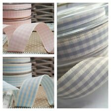 Pink,Grey or Blue & Cream Gingham Ribbon Gender Neutral Boy Girl New Baby Shower