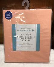 Fitted Percale Crib Sheet -100% Cotton - Peach - By Koala Club - Nip