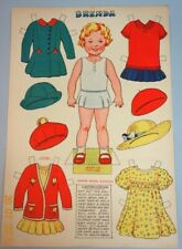 "Un-Cut British Paper Doll Sheet 10"" Brenda w Dresses c1930s"