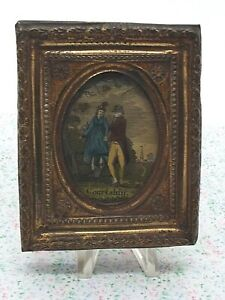 """Antique Gold Framed Miniature Coloured Print """"Courtship"""" Couple"""