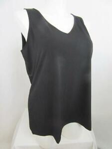 Susan Graver Size 1X Black Liquid Knit V-Neck Tank