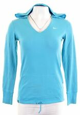 NIKE Womens Hooded Top Long Sleeve UK 8/10 Small Blue Cotton  JD07
