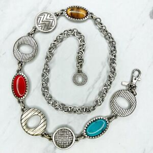 Chico's Silver Tone Cabochon Concho Belly Body Chain Link Belt One Size OS