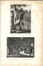 Stampa antica NAPOLI Sepolcro di Virgilio 1834 Old antique print Engraving