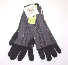 Muk Luks Womens Grey Sparkle Gloves One Size NWT