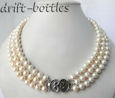 3Strands 9mm 18'' Round White Freshwater Pearl Silver Necklace