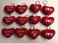 12pc Heart Key Chain. Plush Heart Key Chain. Wholesale Party Favor Prizes