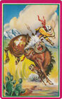Vintage Swap / Playing Card - 1 SINGLE - BUCKING HORSE AND COWBOY