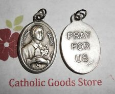 Saint St. Gemma Galgani / Pray for Us - Italian Silver Oxidized 1 inch Medal