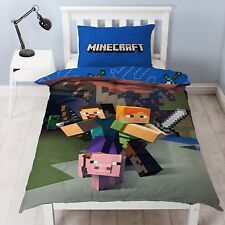 Official Minecraft Single Duvet Cover Set Pillow Case Design Reversible 2 in 1