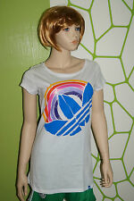 adidas T-shirt Gr.34 Regenbogen Rainbow glitzernd Trefoil weiss blau orange