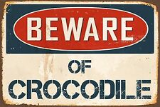 "Beware Of Crocodile 8"" x 12"" Vintage Aluminum Retro Metal Sign VS466"