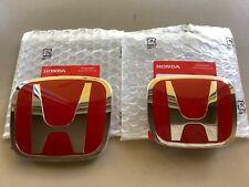 2pcs set Honda Accord Sedan 4Dr 08-17 Red Jdm H Front Rear Type R emblem grille