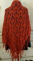 Handmade Large Crochet Pineapple Shawl Copper, Orange Spice Wrap Scarf Cowl Knit