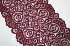"1 yard Burgundy Maroon sewing sheer scalloped LINGERIE STRETCH lace 6.5"" wide"