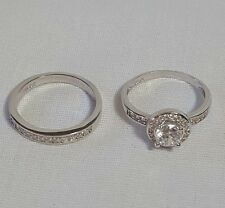 New Womens Jewelry .925 Sterling Silver Cubic Zirconia Bridal Set Ring Size 5