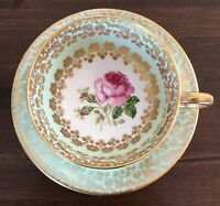 Gorgeous! Windsor Tea Cup & Saucer PINK ROSES Citrus Green Gold Floral Filigree