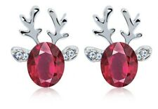 Stud Earrings New Stocking Filler Christmas Silver Purple Reindeer Crystal