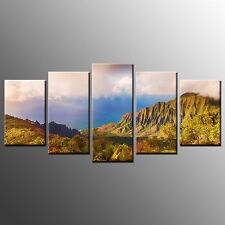 Modern Blue Sea Mountain Canvas Print Picture Painting Wall Art Home Decor-5pc