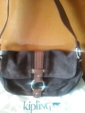Kipling Brown Suede with Leather Trim 25cm x 16cm hand bag Never Used