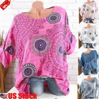 Plus Size Women Ladies Short Sleeve Floral Shirt Tops Blouse Casual Loose Tee US