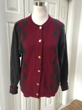 CHANEL Burgundy/Gray Chashmere Cardigan Sweater Gold Buttons Authentic Vtg M
