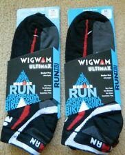 Wigwam 2 pak Ultimax Ironman mens black L(9-12)socks w/red&gray(Slight imperfect