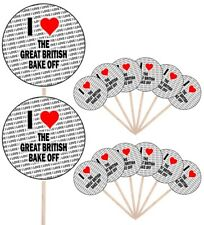 I Love The Great British Bake Off Party Food Cupcake Picks Decorations Toppers