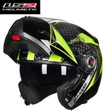 LS2 Brand Carbon Fiber Flip Up Motorcycle Helmet Anti-fog ECE DOT Full Helmets