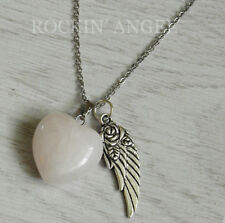 Rose Quartz Puffy Heart & Angel Wing Pendant Necklace Reiki Healing Ladies Gift