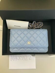 CHANEL CLASSIC WALLET ON CHAIN WOC NEON BLUE 2021