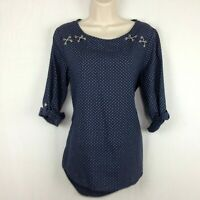 Chico's Size 0 Small Tunic Top Shirt 3/4 Tab Sleeve Navy Blue Polka Dot Cotton
