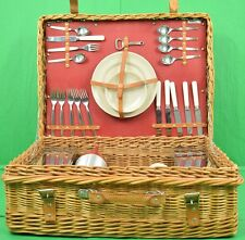 Vintage Abercrombie & Fitch English Wicker Picnic Hamper